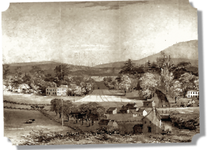 A peaceful farm scene shows the picturesque views seen in Mossy Creek in the early 1800's.